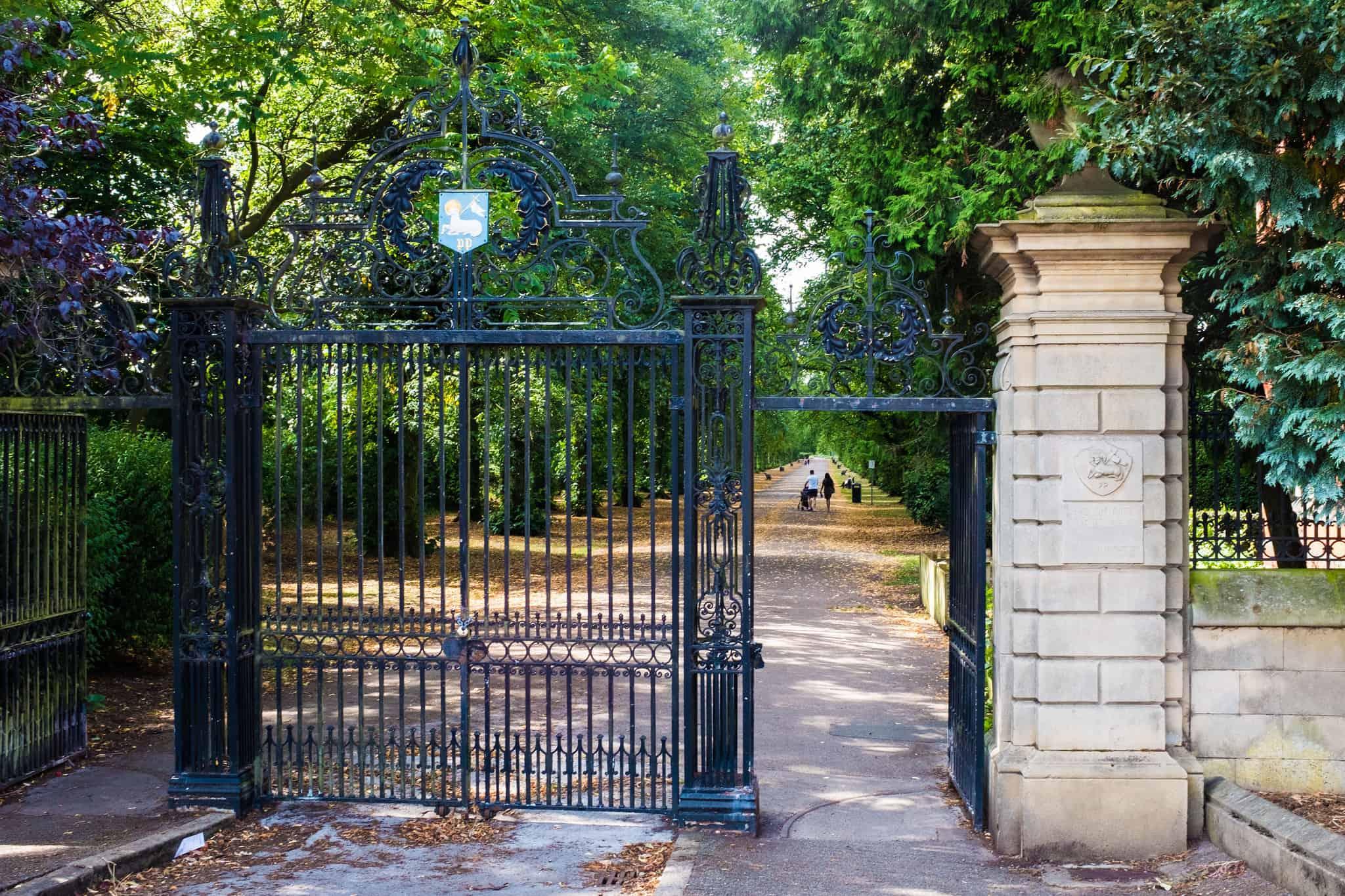 Калитка с воротами из металла в парке