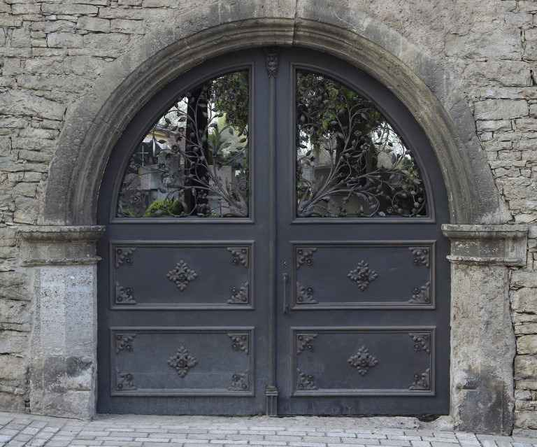 Кованная железная дверь двухстворчатая
