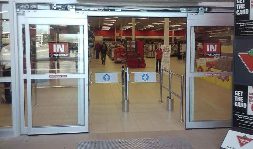 Распашными автоматические двери в магазине/торговом центре