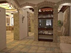 Отделка арки в старой квартире декоративным камнем и обоями, фотографии